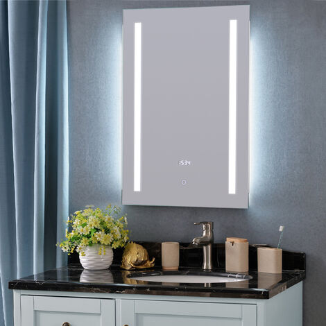Bathroom LED Mirror Illuminated Light Touch Sensor Switch Demister Pad 500x700mm
