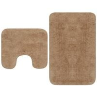 Bathroom Mat Set 2 Pieces Fabric Beige