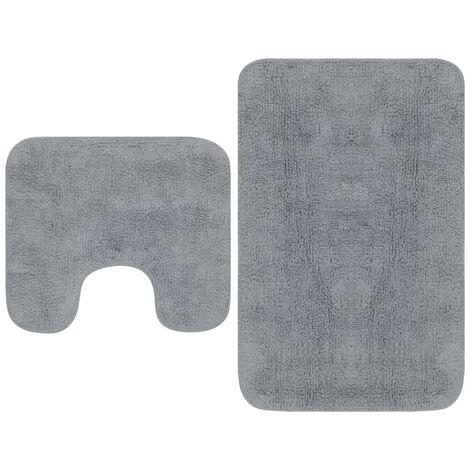 Bathroom Mat Set 2 Pieces Fabric Grey