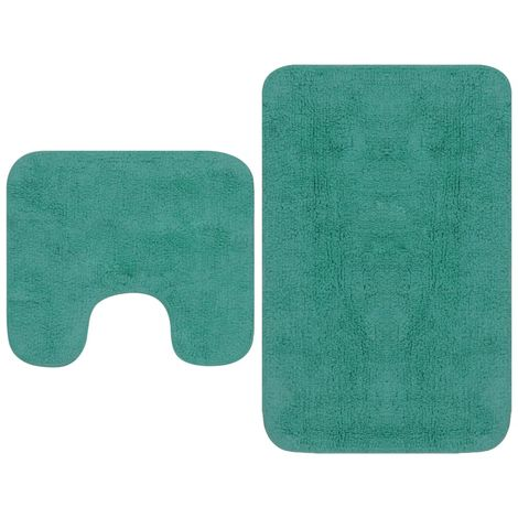 Bathroom Mat Set 2 Pieces Fabric Turquoise