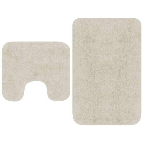 Bathroom Mat Set 2 Pieces Fabric White