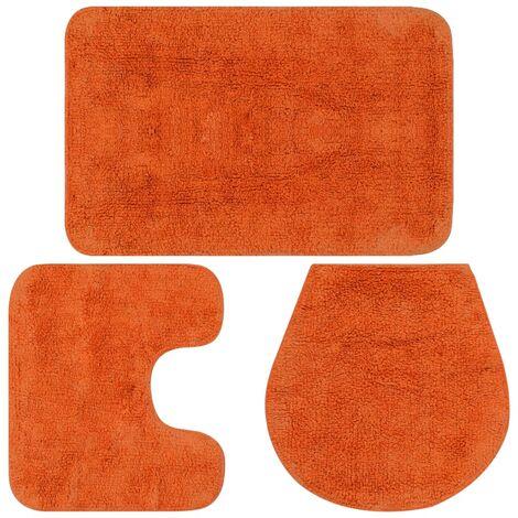 Bathroom Mat Set 3 Pieces Fabric Orange