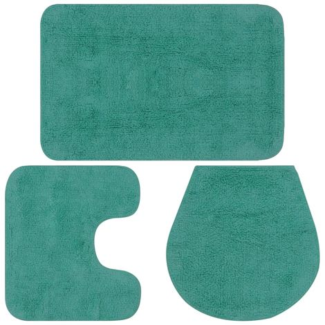 Bathroom Mat Set 3 Pieces Fabric Turquoise