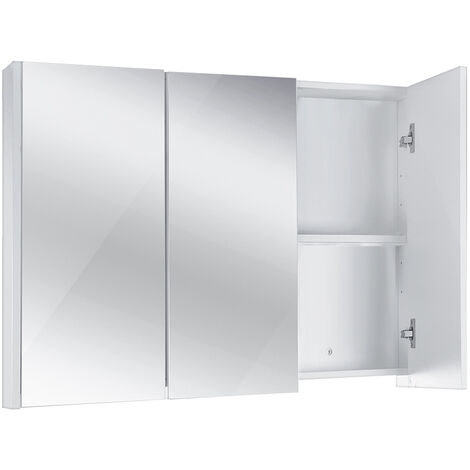 Bathroom Mirror Cabinet 68x13x90cm Warm White Wall Mounted Cupboard Storage Shelves