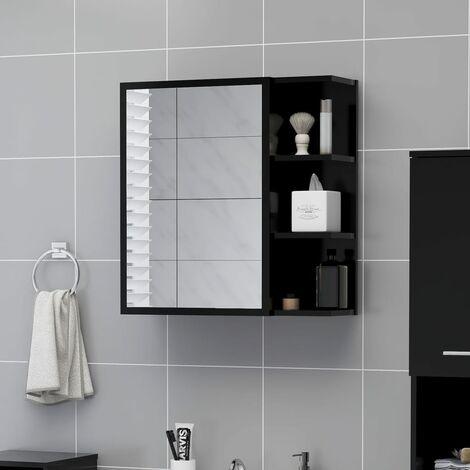 Bathroom Mirror Cabinet Black 62.5x20.5x64 cm Chipboard