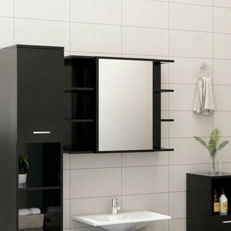 Bathroom Mirror Cabinet Black 80x20.5x64 cm Chipboard