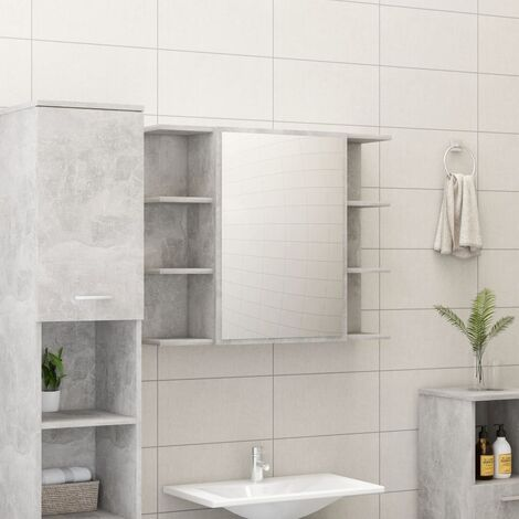 Bathroom Mirror Cabinet Concrete Grey 80x20.5x64 cm Chipboard