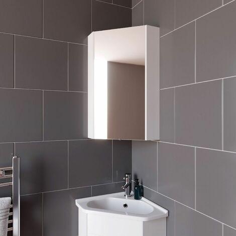 "main image of ""Bathroom Mirror Cabinet Corner White 650x460mm Wall Mounted Storage Cupboard"""