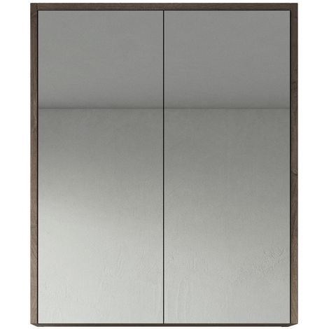 Bathroom Mirror Cabinet Cuba 60cm Brown Oak - Storage cabinet vanity unit furniture double door