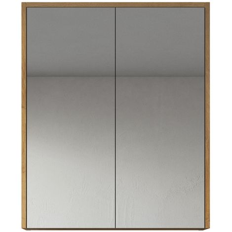 Bathroom Mirror Cabinet Cuba 60cm F. Oak - Storage cabinet vanity unit furniture double door