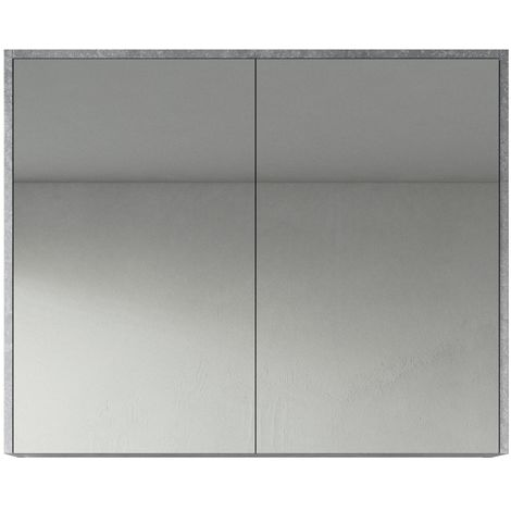 Bathroom Mirror Cabinet Cuba 90cm F. Ash (Grey) - Storage cabinet vanity unit furniture double door
