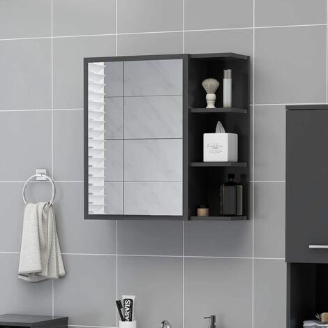 Bathroom Mirror Cabinet Grey 62.5x20.5x64 cm Chipboard