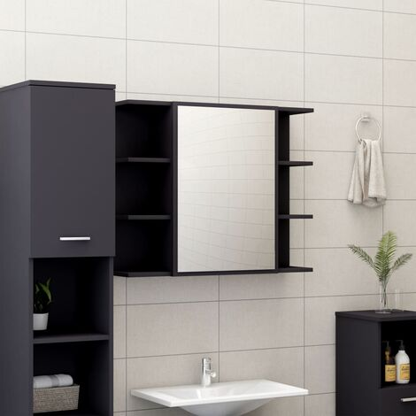 Bathroom Mirror Cabinet Grey 80x20.5x64 cm Chipboard
