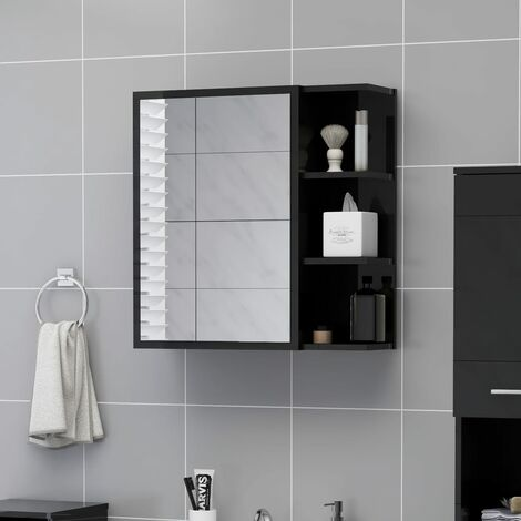 Bathroom Mirror Cabinet High Gloss Black 62.5x20.5x64 cm Chipboard