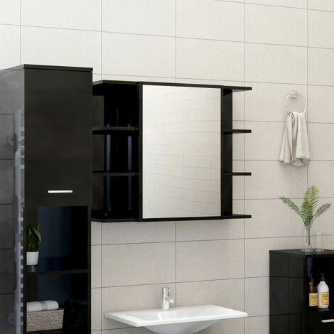 Bathroom Mirror Cabinet High Gloss Black 80x20.5x64 cm Chipboard