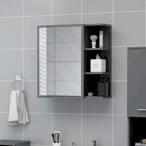 Bathroom Mirror Cabinet High Gloss Grey 62.5x20.5x64 cm Chipboard