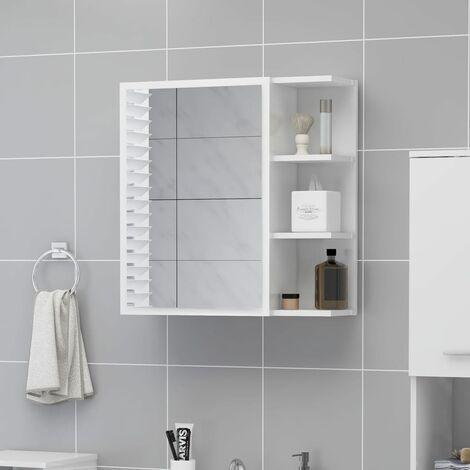 Bathroom Mirror Cabinet High Gloss White 62.5x20.5x64 cm Chipboard
