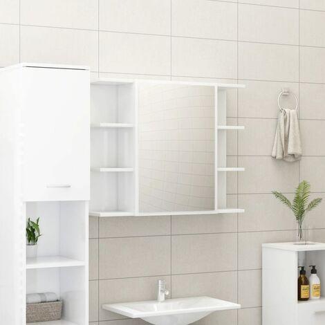 Bathroom Mirror Cabinet High Gloss White 80x20.5x64 cm Chipboard