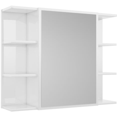 Bathroom Mirror Cabinet High Gloss White 80x20.5x64 cm Chipboard