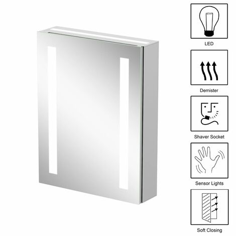 Bathroom Mirror Cabinet LED Illuminated Wall Mounted Demister IP44 500 x 650mm
