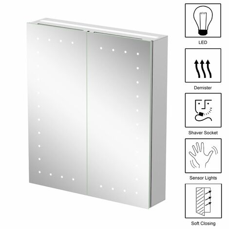 Bathroom Mirror Cabinet LED Illuminated Wall Mounted Mains Power IP44 600x700mm