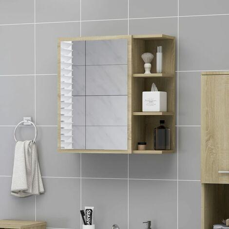 Bathroom Mirror Cabinet Sonoma Oak 62.5x20.5x64 cm Chipboard