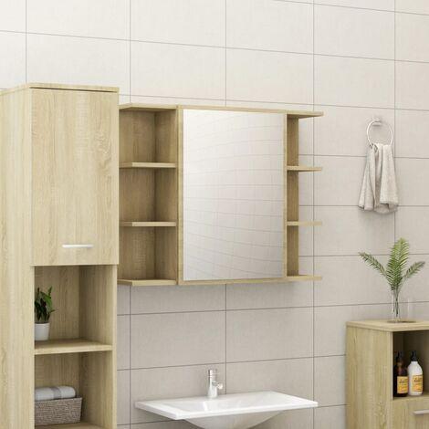 Bathroom Mirror Cabinet Sonoma Oak 80x20.5x64 cm Chipboard