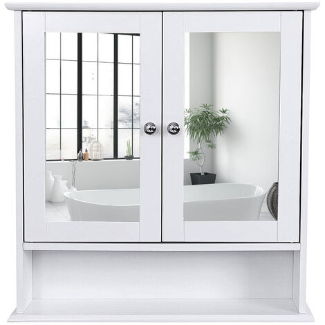 Bathroom Mirror Cabinet Storage Cupboard Wall-Mounted Storage Unit Wooden With Double Mirrored Doors Adjustable Shelf 56 x 13 x 58cm (W x D x H) White