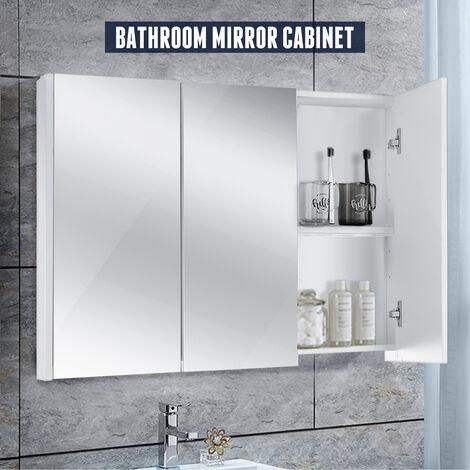 Bathroom Mirror Cabinet Three-Door Cabinet Wall Mounted Storage Shelves 90*13*68cm