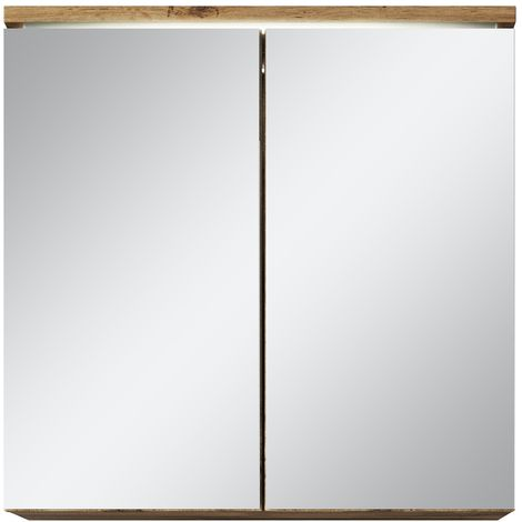 Bathroom Mirror Cabinet Toledo 60cm Wotan (Brown) - Storage cabinet vanity unit furniture double door