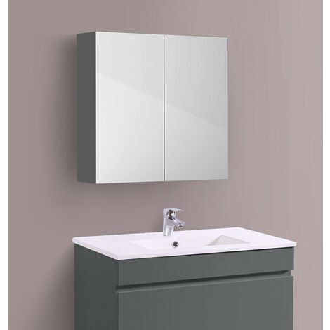 Bathroom Mirror Cabinet Wall Storage Cupboard Gloss Grey Furniture 600mm