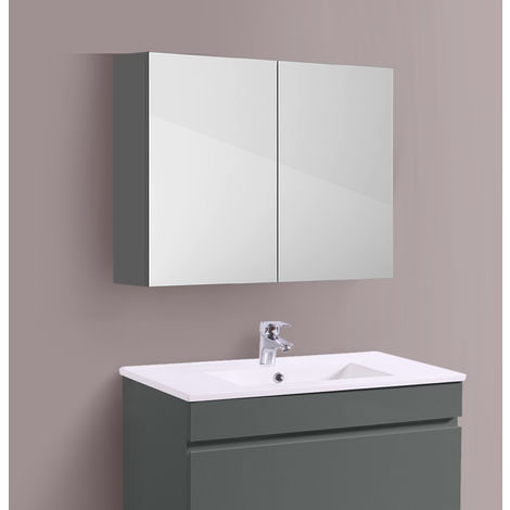 Bathroom Mirror Cabinet Wall Storage Cupboard Gloss Grey Furniture 800mm