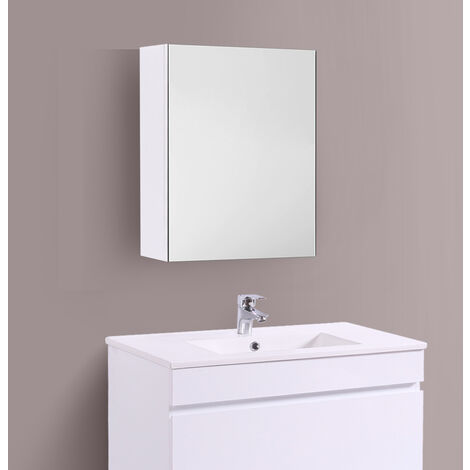Bathroom Mirror Cabinet Wall Storage Cupboard Gloss White Furniture 450mm
