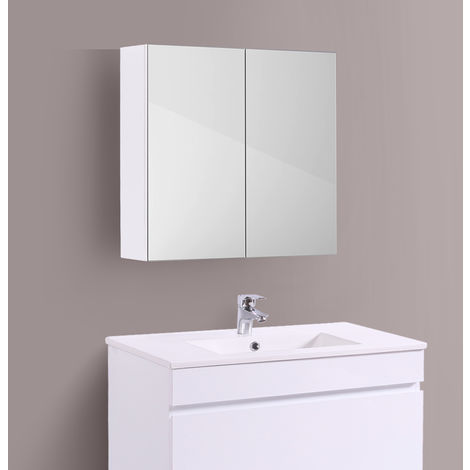 Bathroom Mirror Cabinet Wall Storage Cupboard Gloss White Furniture 600mm