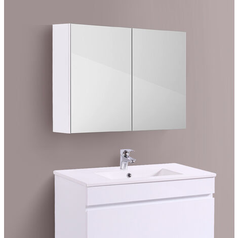 Bathroom Mirror Cabinet Wall Storage Cupboard Gloss White Furniture 800mm