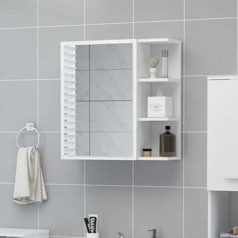 Bathroom Mirror Cabinet White 62.5x20.5x64 cm Chipboard