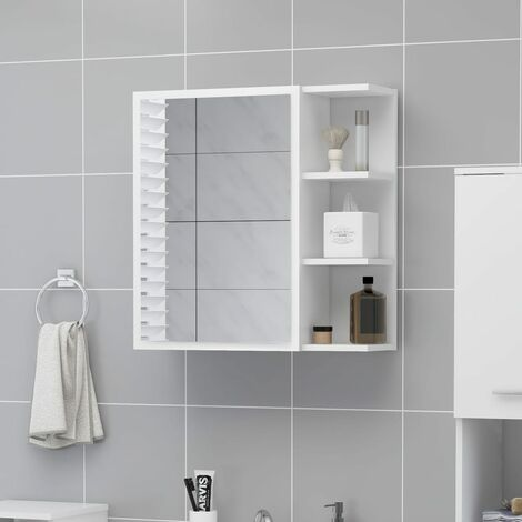"""main image of """"Bathroom Mirror Cabinet White 62.5x20.5x64 cm Chipboard36944-Serial number"""""""