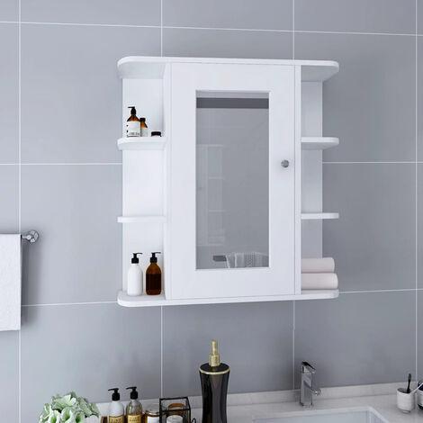 "main image of ""Bathroom Mirror Cabinet White 66x17x63 cm MDF"""