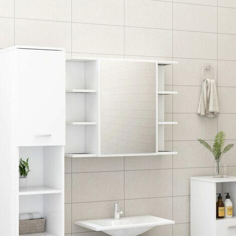 Bathroom Mirror Cabinet White 80x20.5x64 cm Chipboard