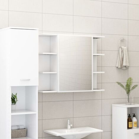 """main image of """"Bathroom Mirror Cabinet White 80x20.5x64 cm Chipboard36623-Serial number"""""""