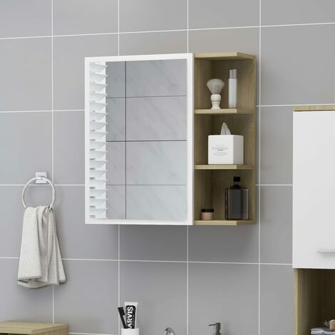 Bathroom Mirror Cabinet White and Sonoma Oak 62.5x20.5x64 cm Chipboard