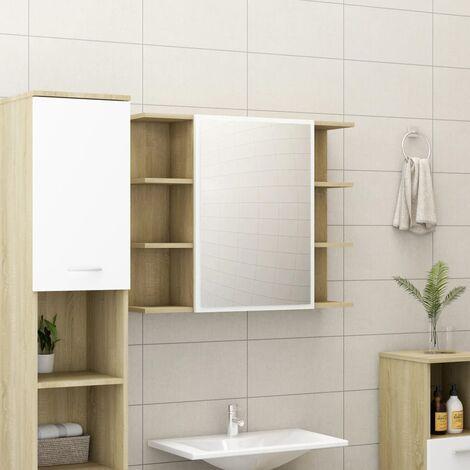 Bathroom Mirror Cabinet White and Sonoma Oak 80x20.5x64 cm Chipboard