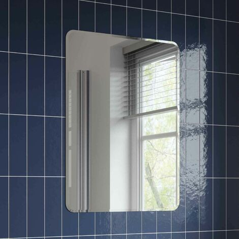 Bathroom Mirror Frameless Modern Rectangle Bevelled Edge Wall Mounted 500x700mm