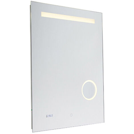 Bathroom mirror incl. LED with touch dimmer and clock - Miral