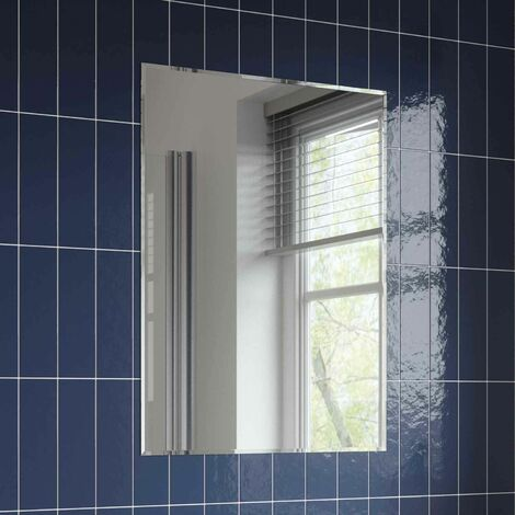 Bathroom Mirror Modern Rectangle Frameless Bevelled Edge Wall Mounted 700x500mm
