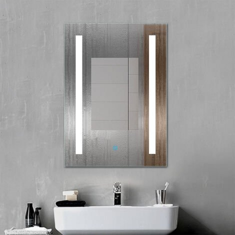 Bathroom Mirror with LED Lights Demister Pad Touch Control Wall Mount Vertical