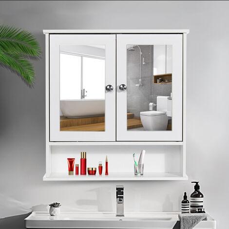 "main image of ""Bathroom Mirrored Cabinet Double Doors Wall Mounted Shelf Storage Cupboard - Blanc"""