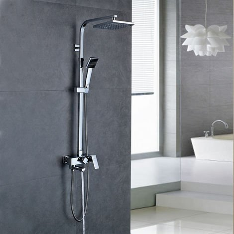 Bathroom Mixer Shower System Set with Square Rainfall Shower Shower Head and Hand Held Shower