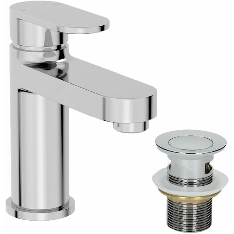 Bathroom Modern Basin Mixer Tap Waste Chrome Round Cloakroom