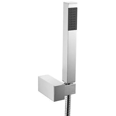 Bathroom Modern Chrome Shower Handset With Flexible Hose & Wall Bracket Holder